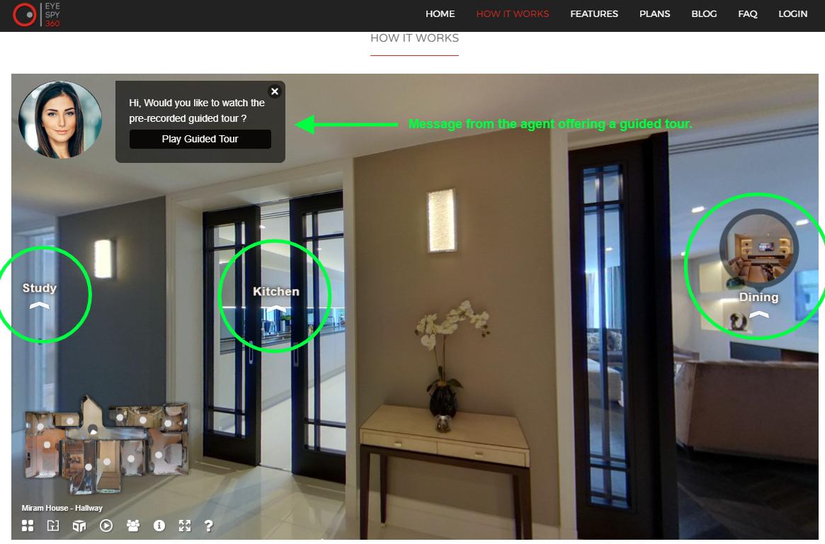 3d virtual tour example interface