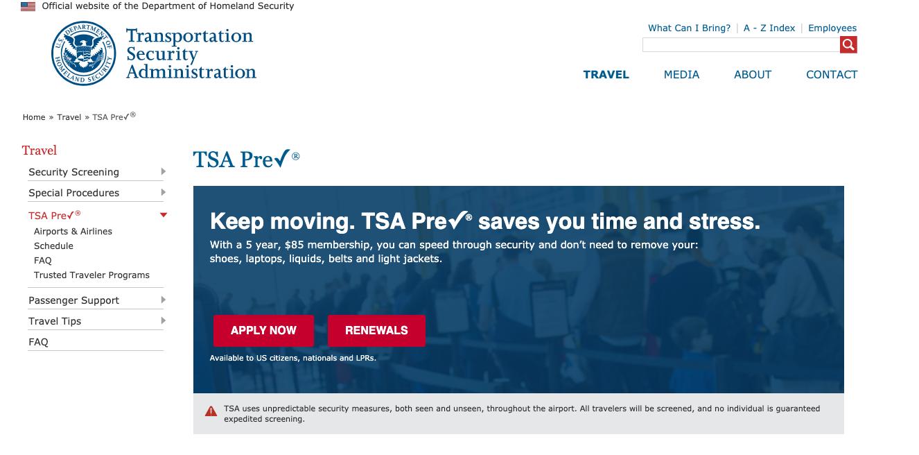 Home page of TSA PreCheck website