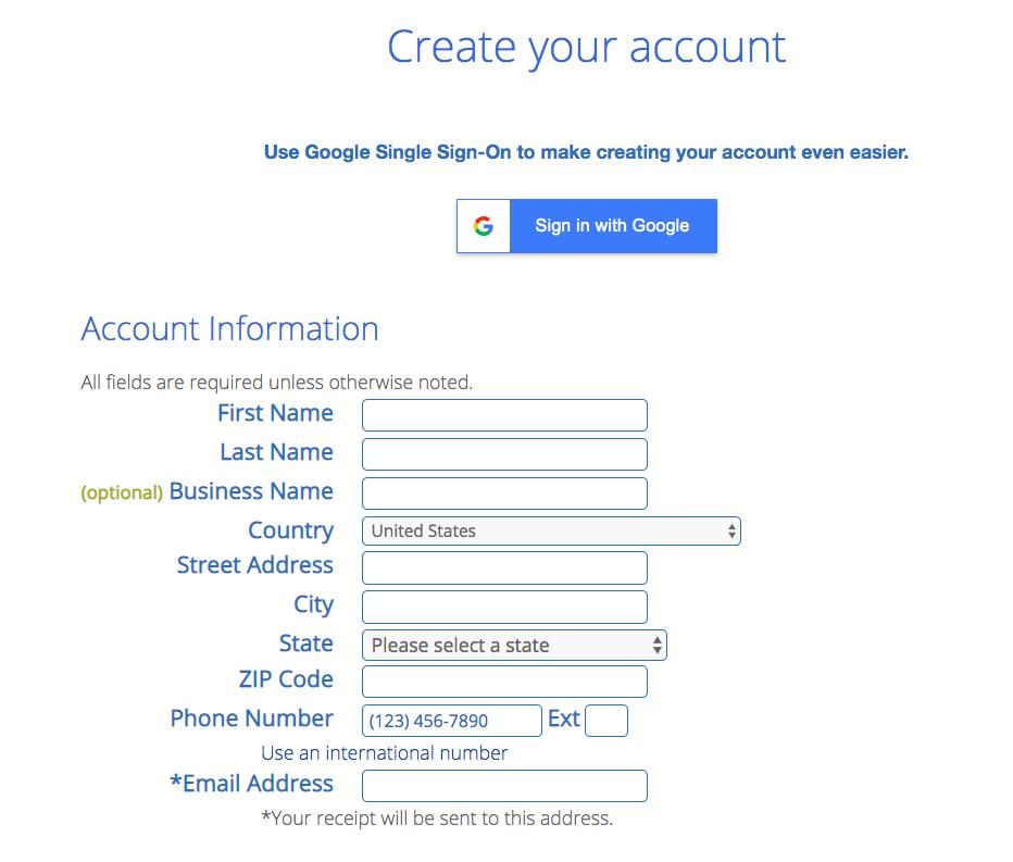 Registration for Bluehost web hosting plans