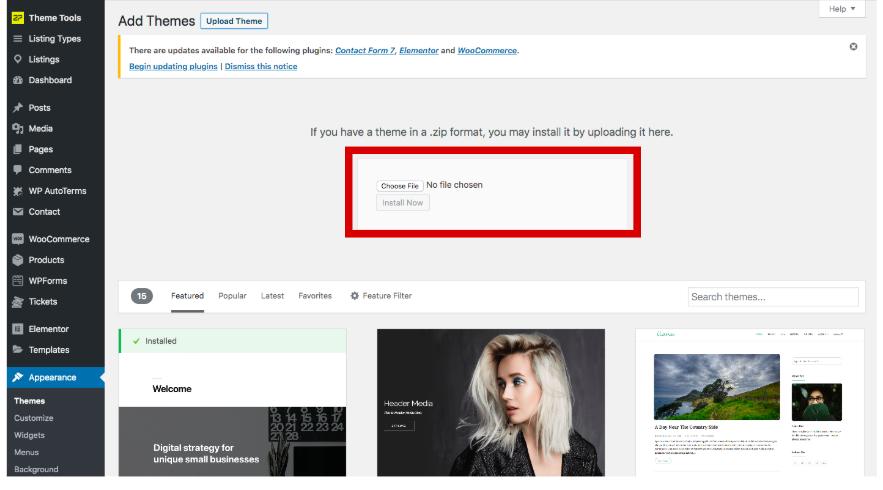 Upload a premium theme to WordPress
