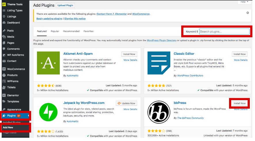 Search plugins in WordPress