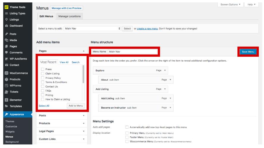 Configure WordPress menu