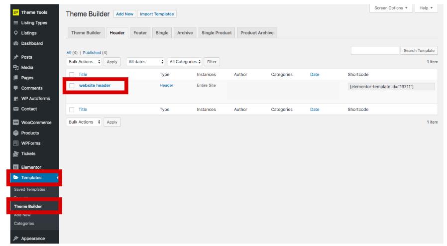 Edit site header in WordPress