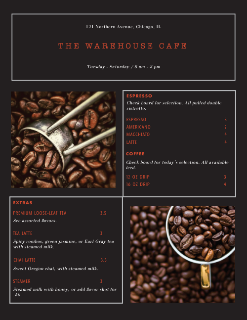 Coffee Roasters Style Menu