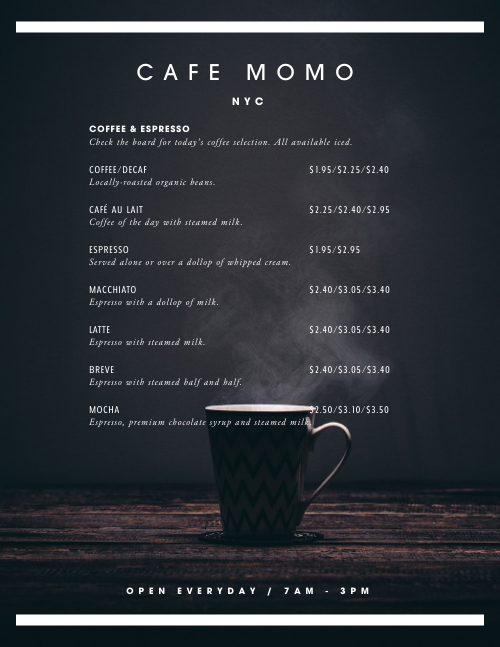 City Coffee Style Menu
