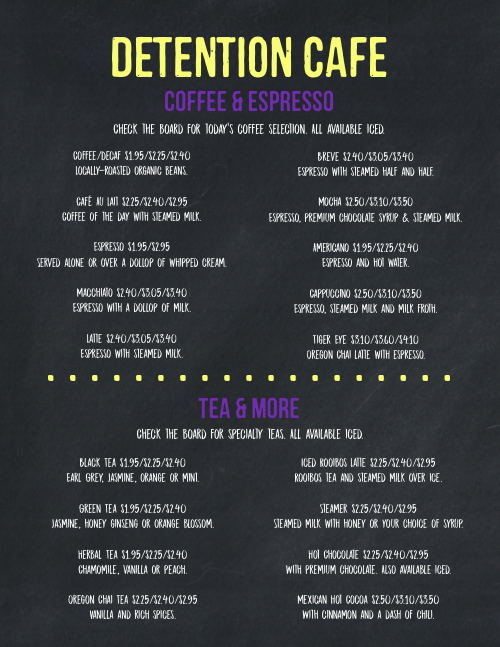 Coffee Blackboard Style Menu