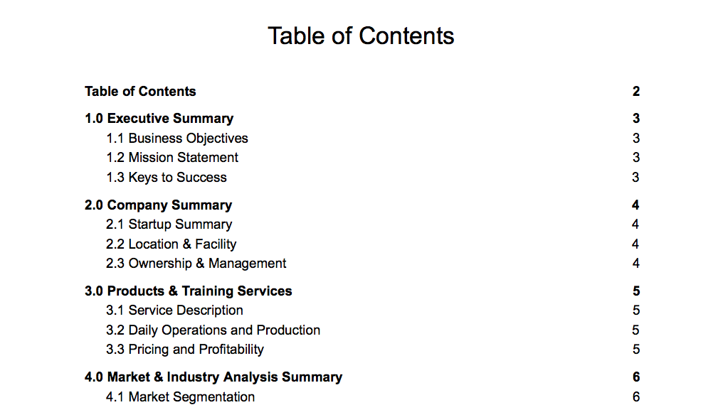 personal training business plan template table of contents