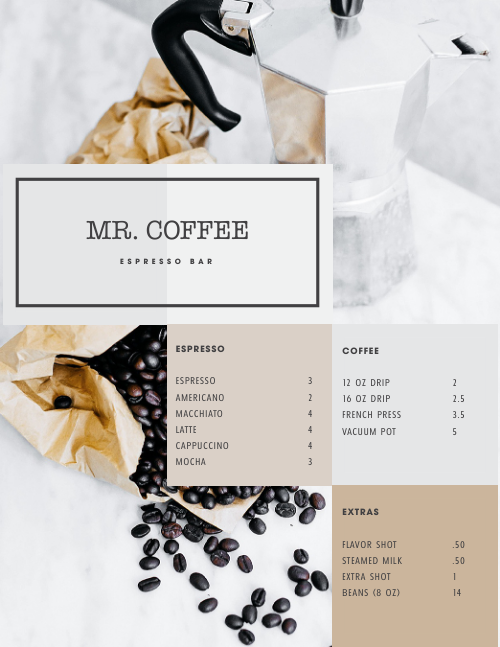 Coffee Espresso Bar Menu