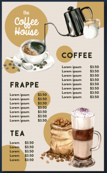 Illustrated Coffee Shop Menu