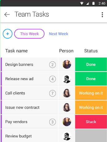 Monday.com features mobile view