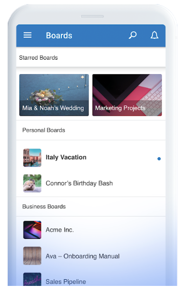 Trello features mobile view