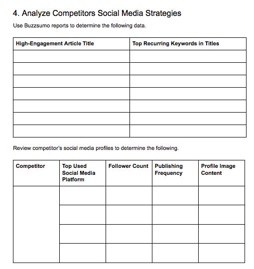 Analyze Competitors' Social Media Presence table