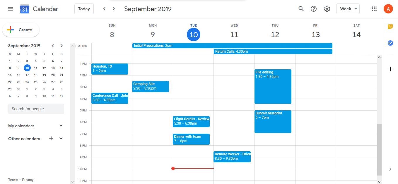 google calendar example calendar