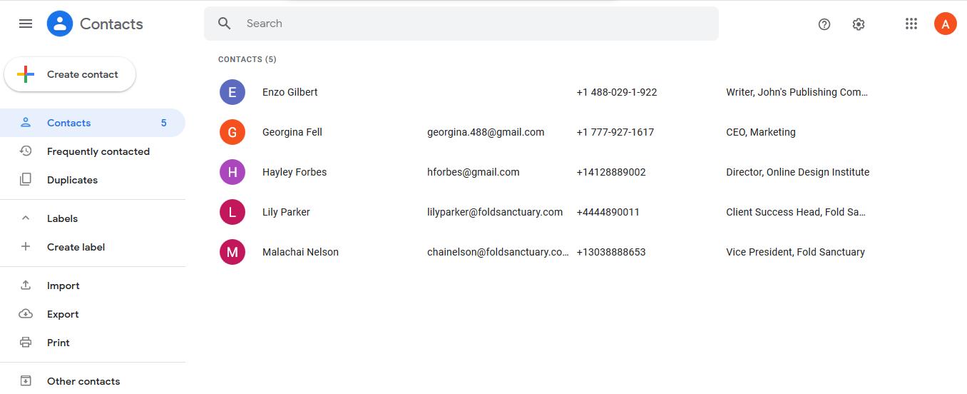 google contacts screenshot