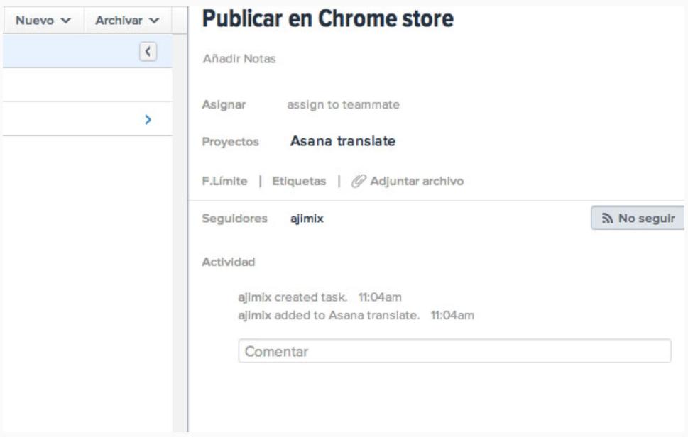 Asana in spanish screenshot