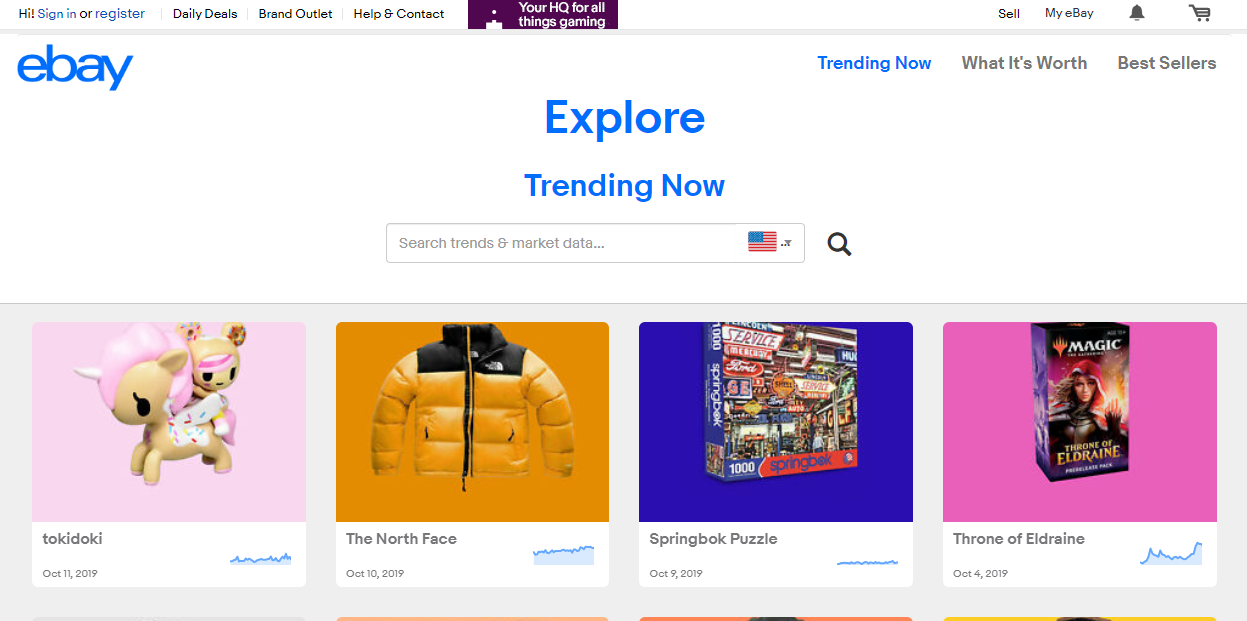 ebay explore page with trending products