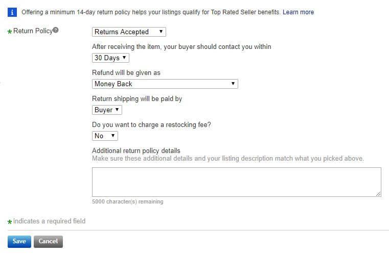 setting return policy screenshot