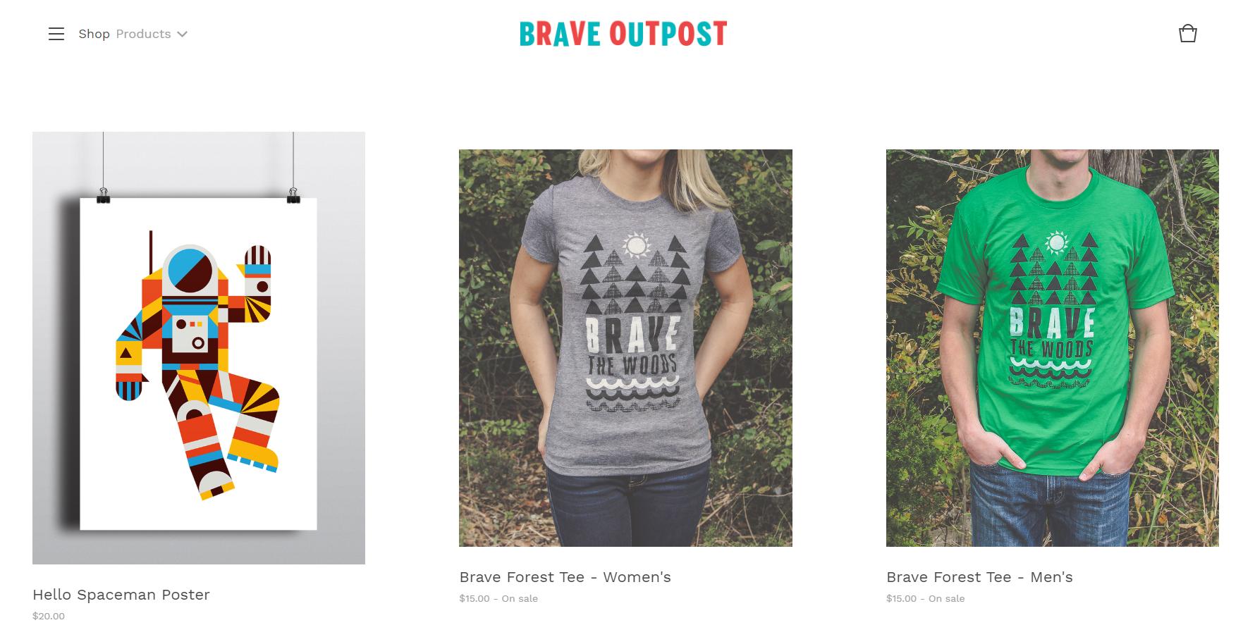 Screenshot of Brave's Outpost website