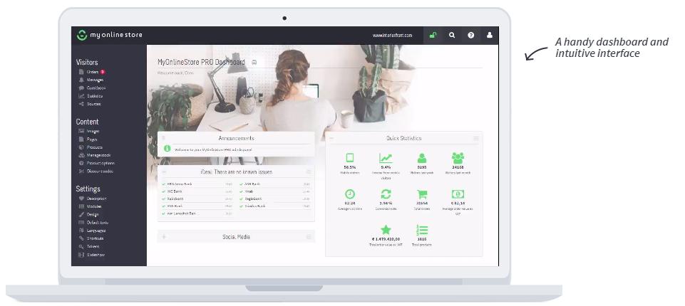 View of MyOnlineStore's intuitive dashboard features
