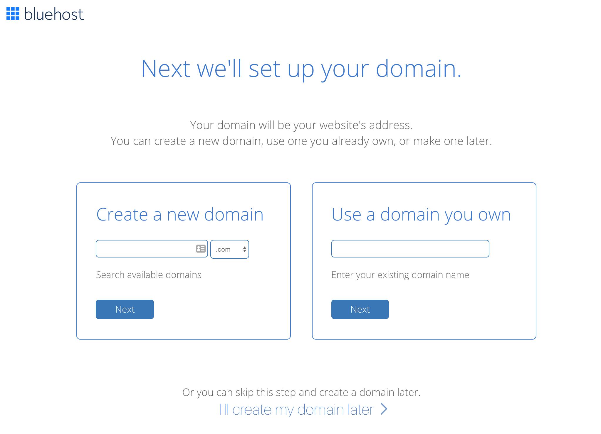 Bluehost domain setup page