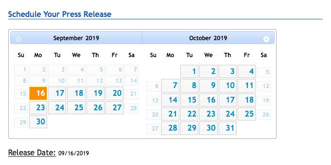 Pagina di pianificazione dei comunicati stampa e-Release