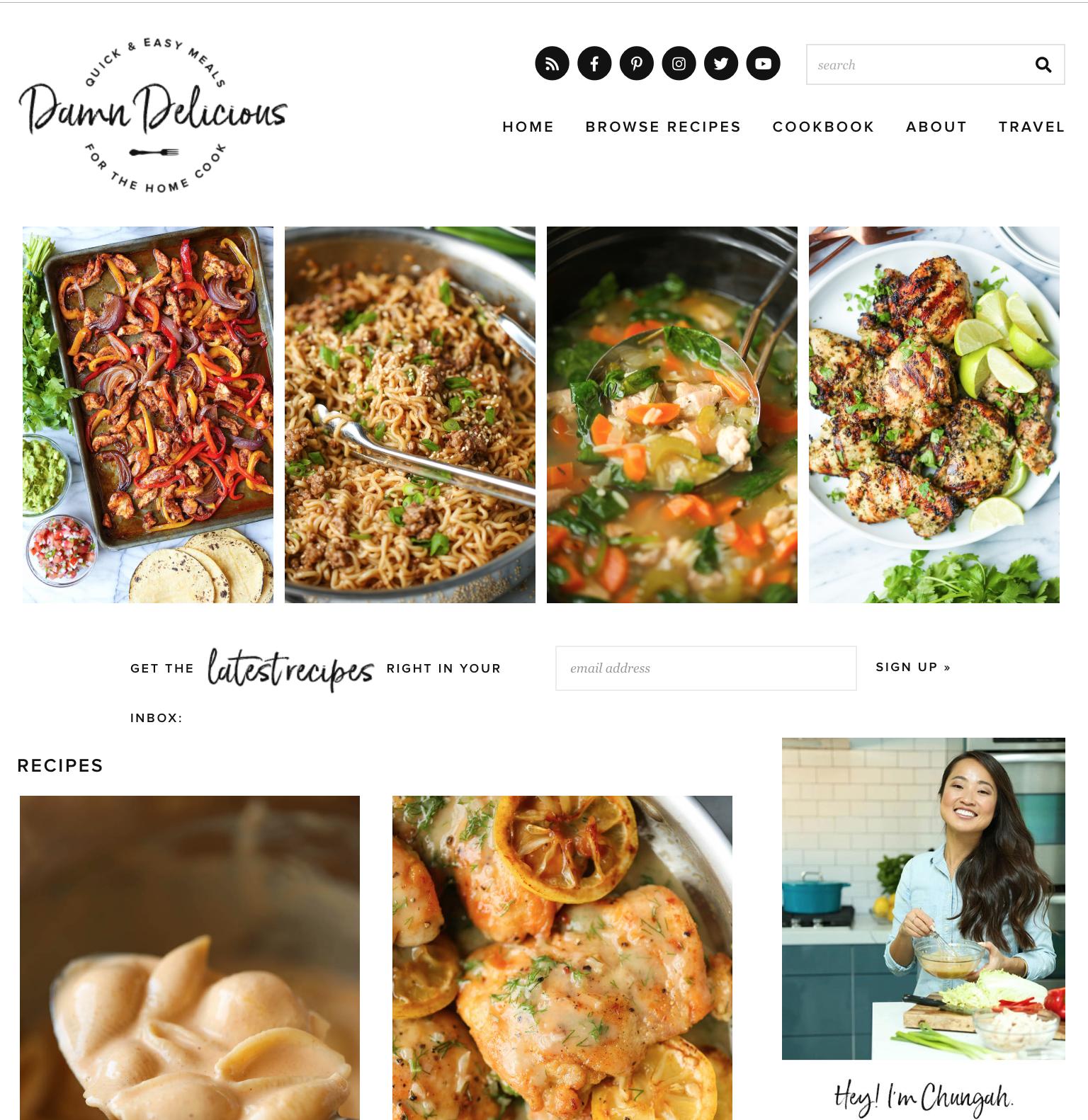 Damn Delicious cooking blog example