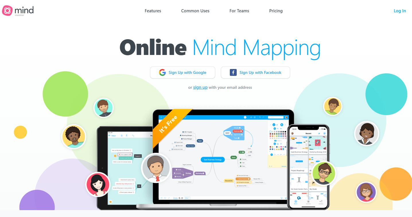 Screenshot of MindMeister's homepage