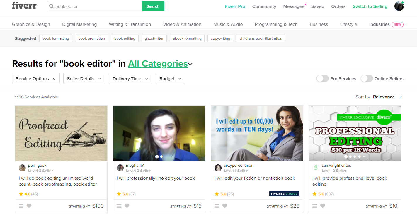 Screenshot of Fiverr's homepage