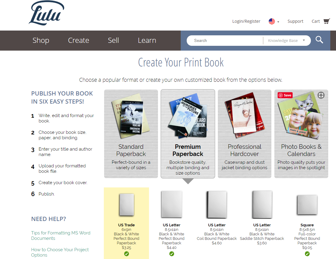 Screenshot of Lulu's homepage