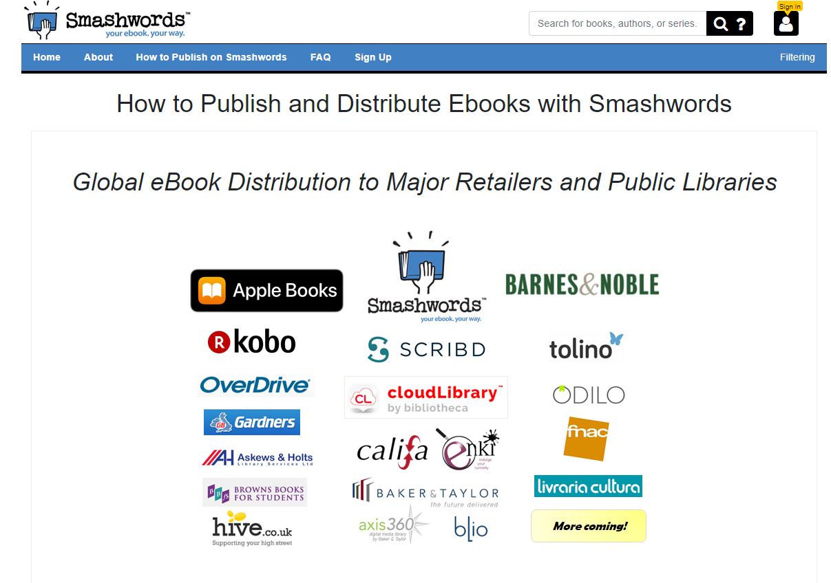 Screenshot of Smashwords homepage