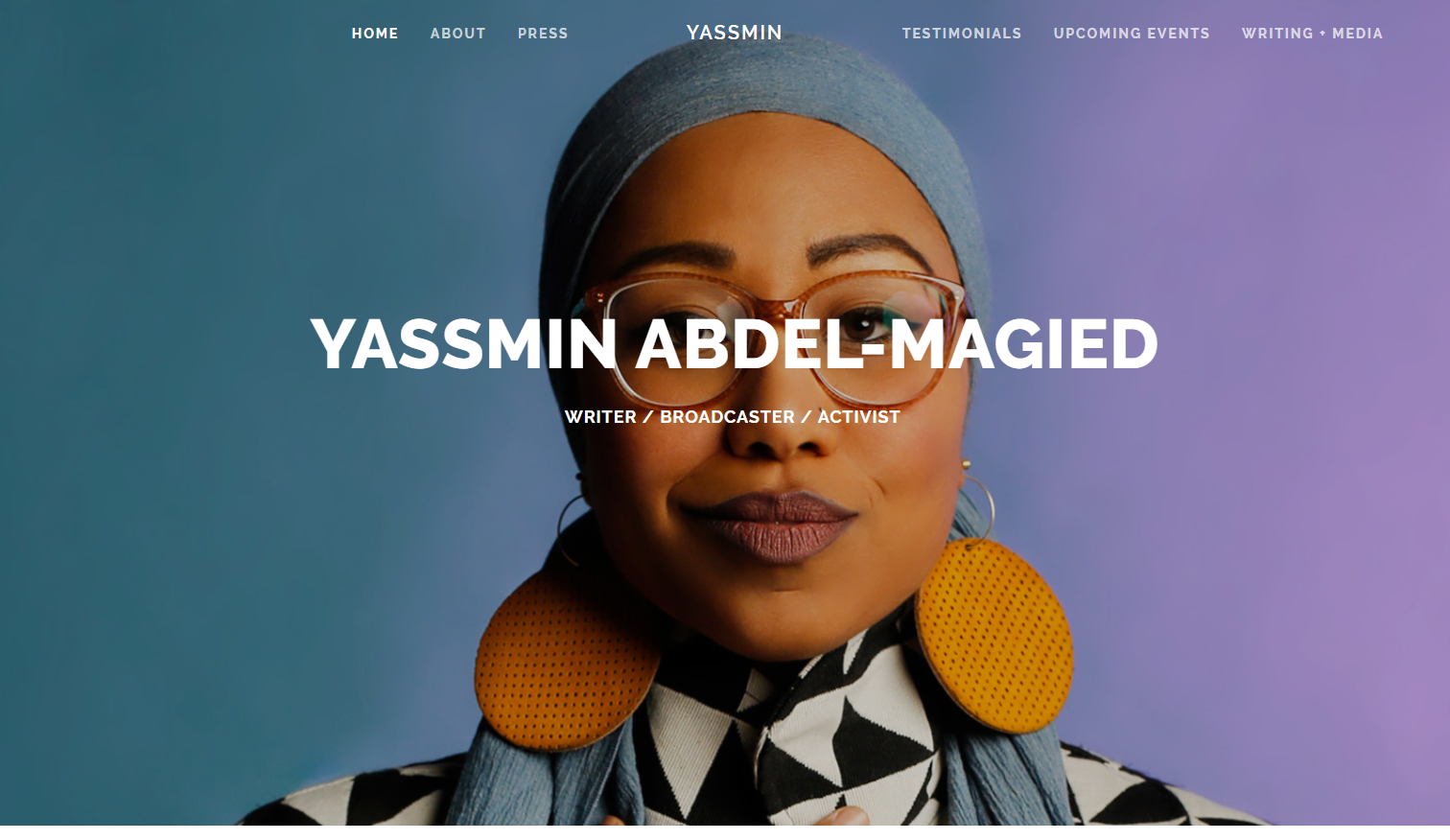 Image of Yassmin Abdel-Magied's website that was created using Squarespace.