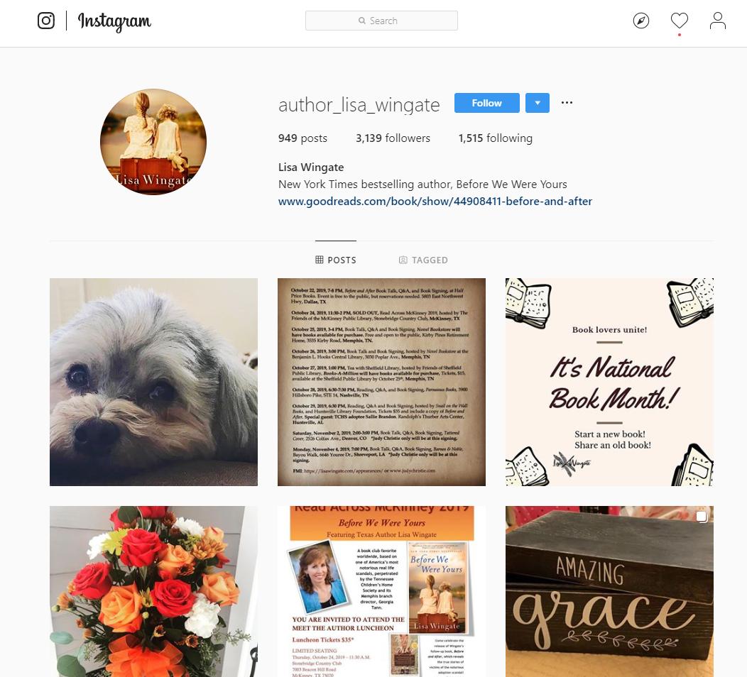 Screenshot of Lisa Wingate's Instagram profile