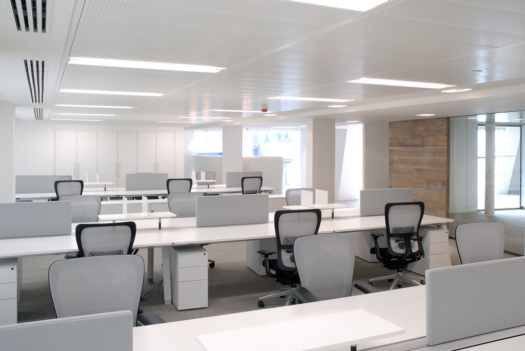 an example of an open floor plan office space