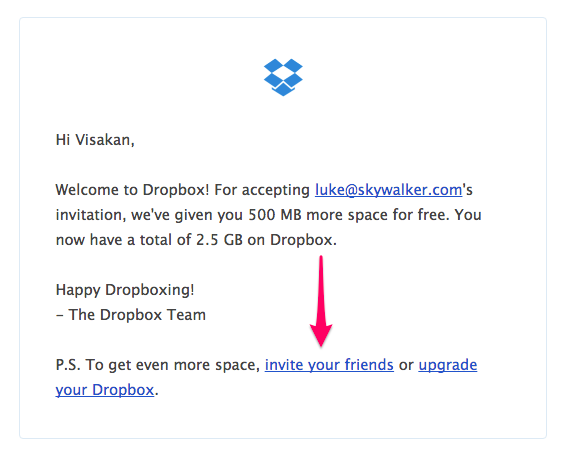 Dropbox's Customer Referral Program Welcome Email info-graphic