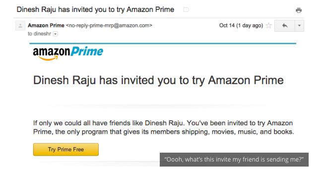 Amazon Prime Referral Program Invite Email info-graphic