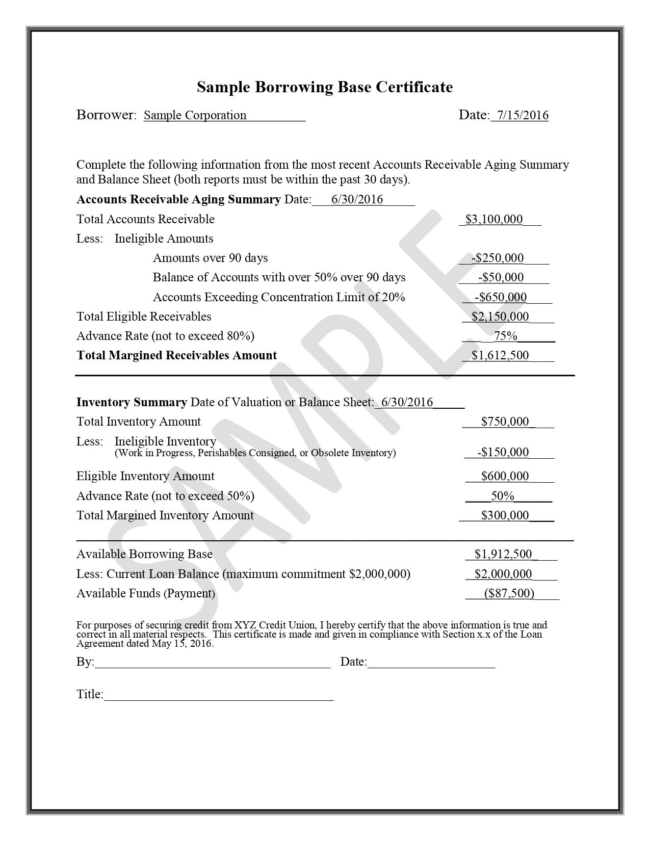 Sample Borrowing Base Certificate