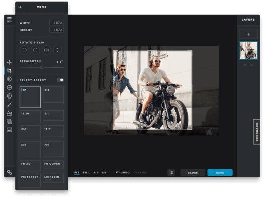 Pixlr photo editing software crop features