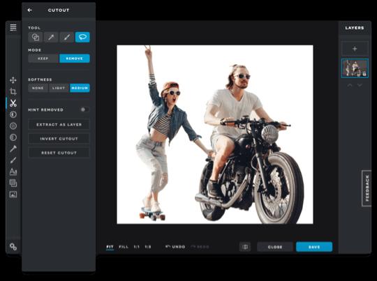 PIXLR photo editing tools cutout feature