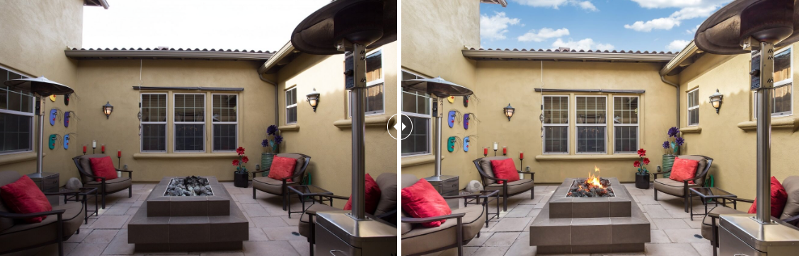 PhotoUp professional real estate editing example showing before and after