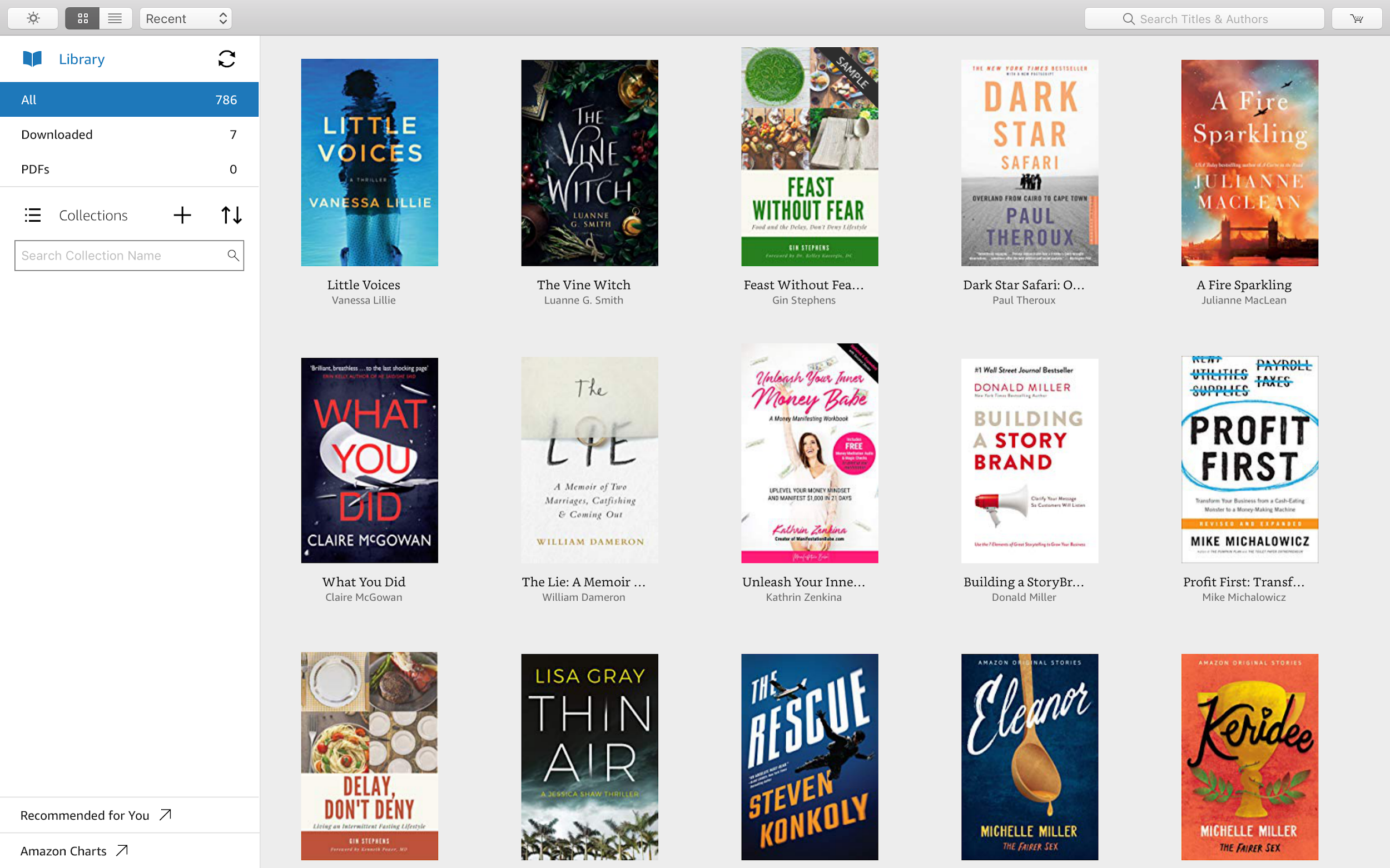 kindle direct publishing library on a MacBook Kindle app