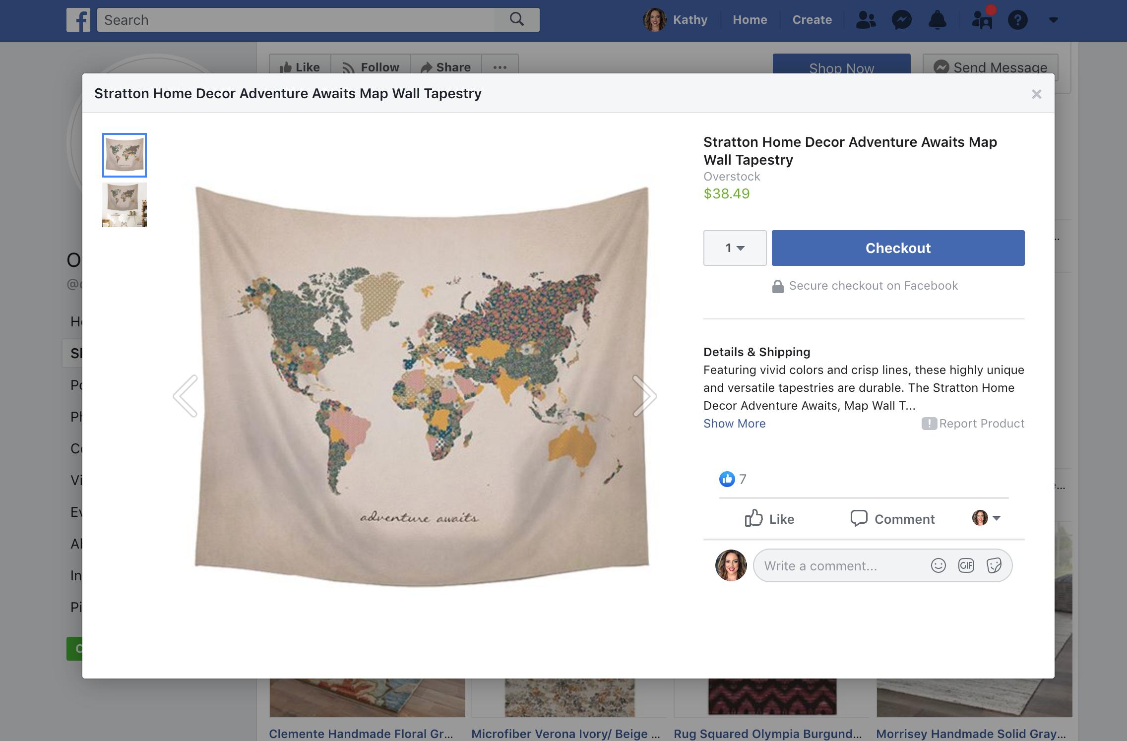 shopify facebook store customer checkout screen