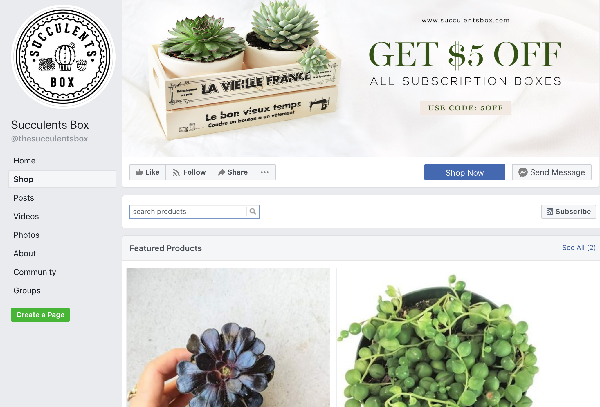 An example of the shop tab on Facebook