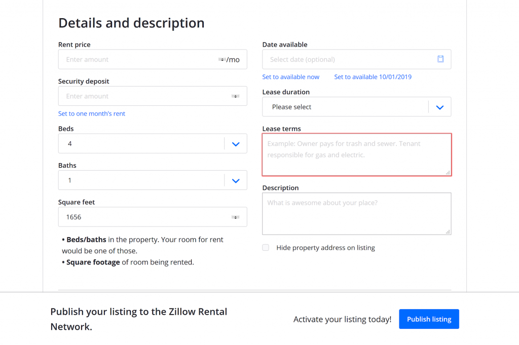 zillow rental details & description form