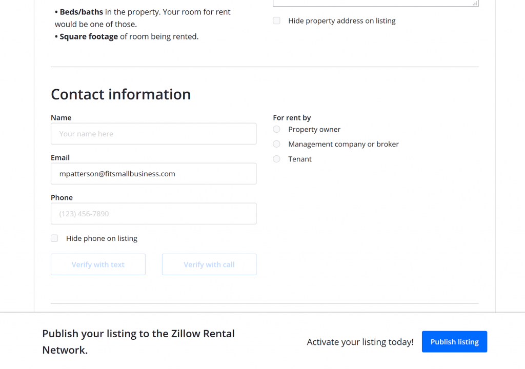 zillow rental details and description form