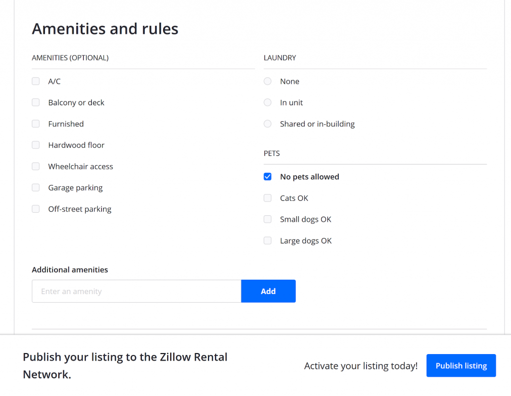 zillow rental manager Amenities & Rules form