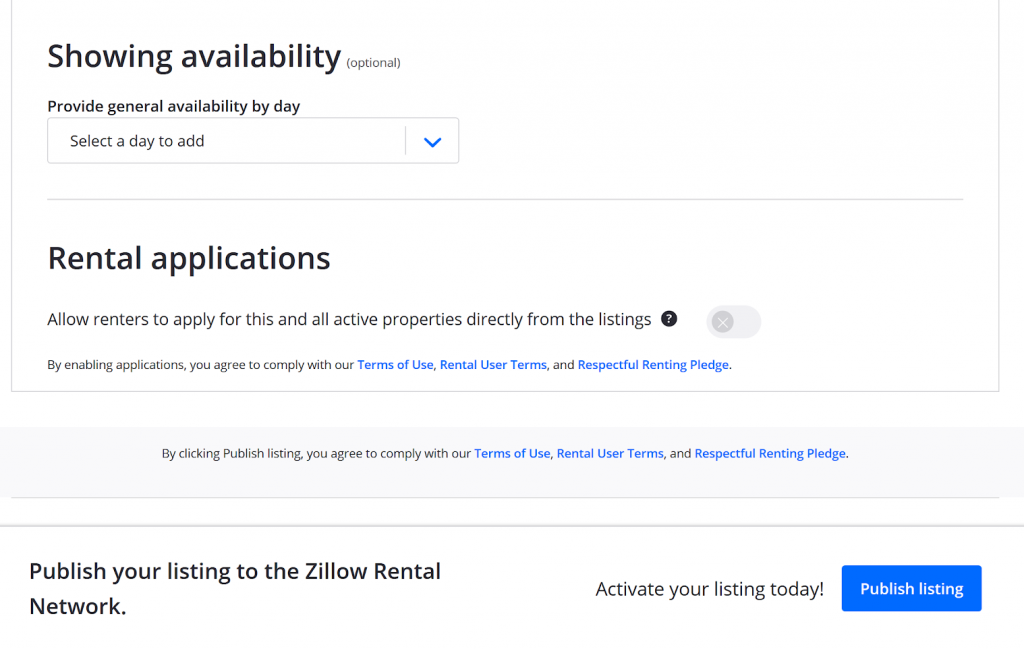 zillow rental manager application form