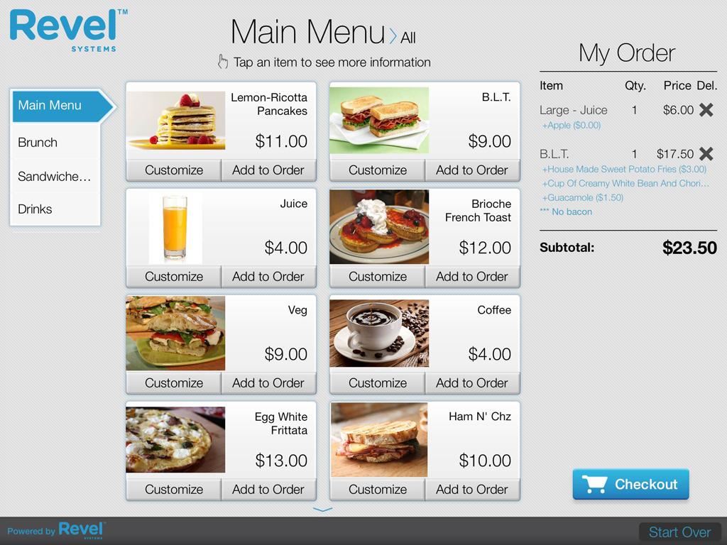 Revel Systems customer-facing display and self-order kiosk