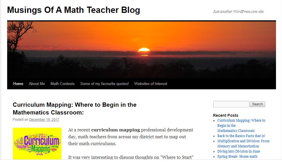 Musings of a Math Teacher - teacher blog