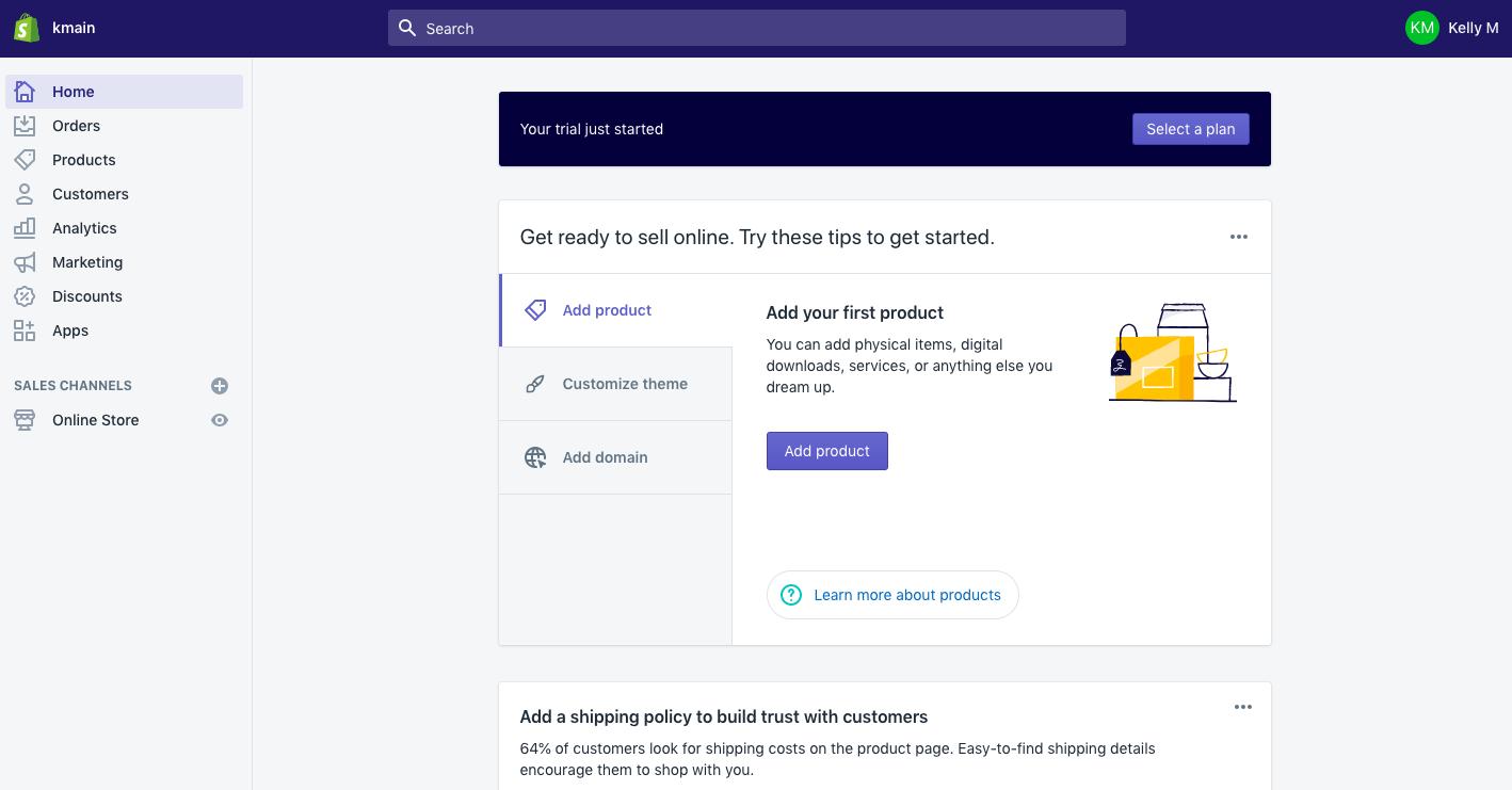 Exemple d'interface utilisateur Shopify
