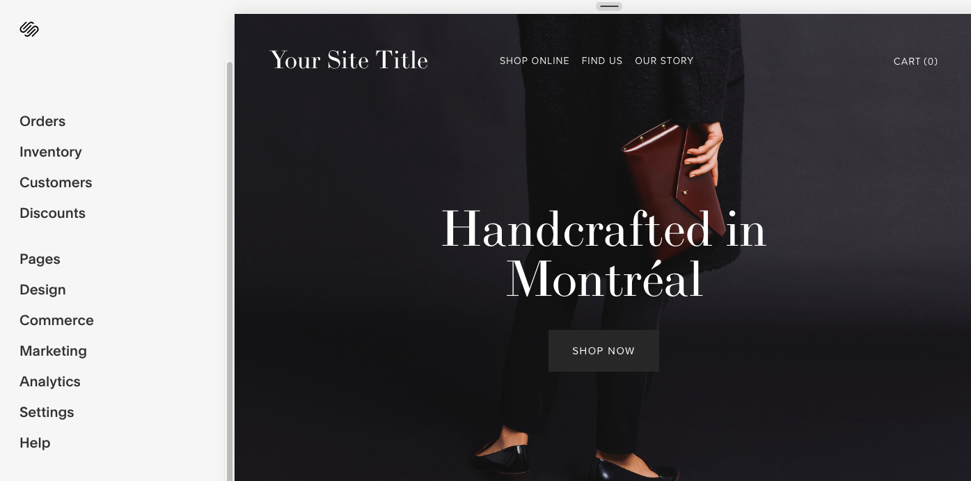 Example of the Squarespace User Interface